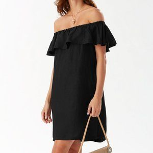 Tommy Bahama Black Linen-Blend Off-Shoulder Dress
